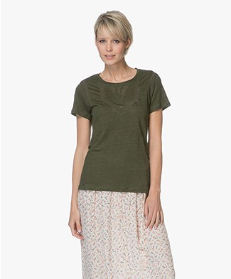 indi & cold Linen T-shirt met Lace - Militar