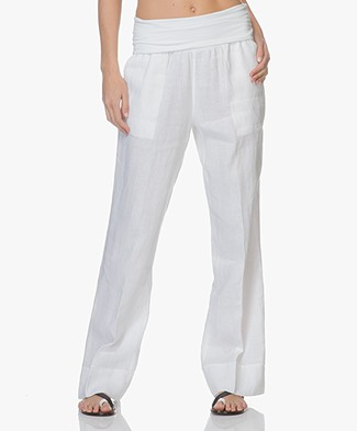 no man's land Linen Pants with Jersey Waistband - White