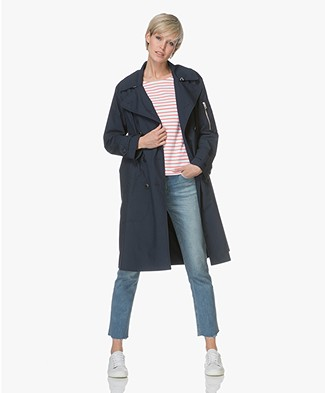 Rag & Bone Ace A-line Trench Coat - Navy