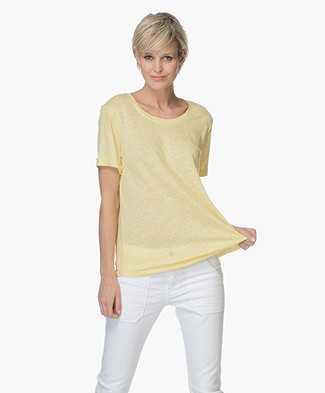 Repeat Linen Round Neck T-shirt - Yellow
