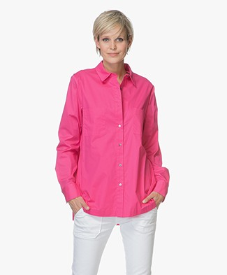 Repeat Cotton Blouse with Side Slits - Magenta