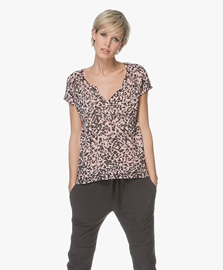 Zadig & Voltaire Many Luipaard Print Linnen T-shirt - Bubble Gum