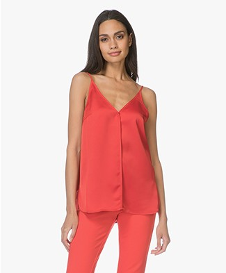 By Malene Birger Carollo Satin V-neck Top - Bright Red