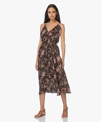 Magali Pascal Whisper Viscose Print Ruffle Dress - Black Valence