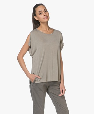 Majestic Cupro T-shirt with Slit-cuff Sleeves - Army