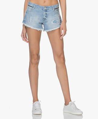 Zadig & Voltaire Paly Destroy Denim Shorts - Blue