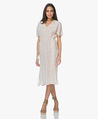 indi & cold Viscose Midi Dress with Floral Print - Marfil