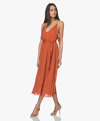 Magali Pascal Whisper Viscose Ruffle Dress - Morange