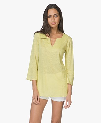 no man's land Top Linen Cropped Sleeve T-shirt - Citrus