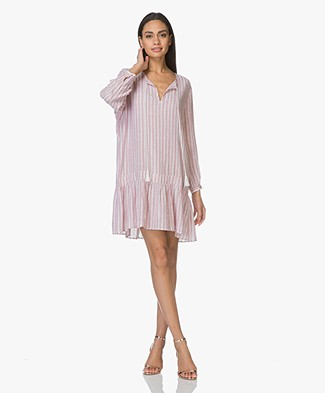 Repeat Linen Mini Dress with Lurex - Lilac/White