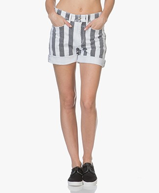 Drykorn Bumble Striped Denim Shorts - White/Grey