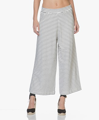 LEÏ 1984 Calliste Striped French Terry Culottes - Nacre/Navy