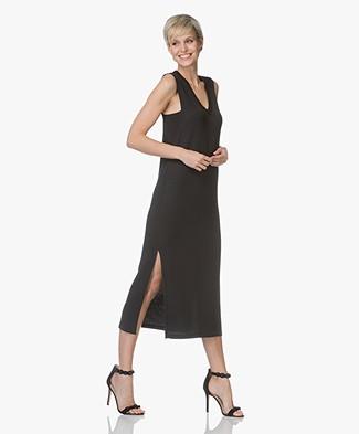 Rag & Bone Phoenix Vee French Terry Dress - Black
