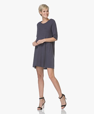 Repeat Fine Knitted A-line Dress - Dark Blue