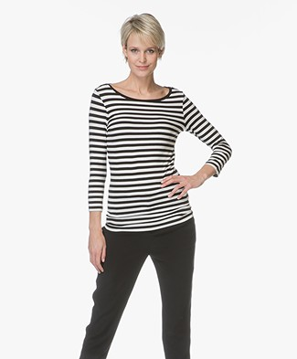 HUGO Dannela Striped T-shirt with Cropped Sleeves - Black/Ecru