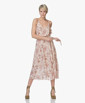 Magali Pascal Whisper Viscose Print Ruffle Dress - Nude Valence