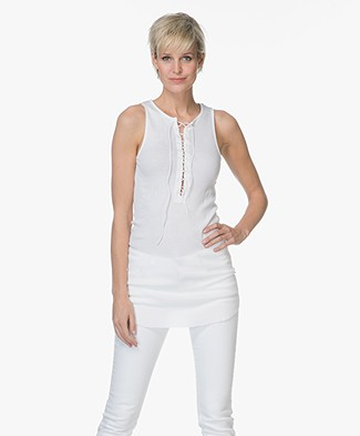 Majestic Long Tank Top with Lacing - White