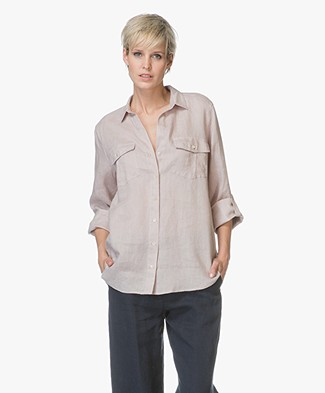 Repeat Lange Linnen Blouse - Zand