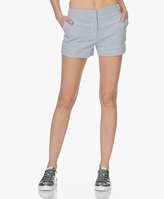 BY-BAR Sera Seersucker Striped Shorts - Black/Off-white