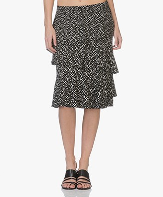 Baukjen Martha Knee-length Ruffle Skirt - Polka Print