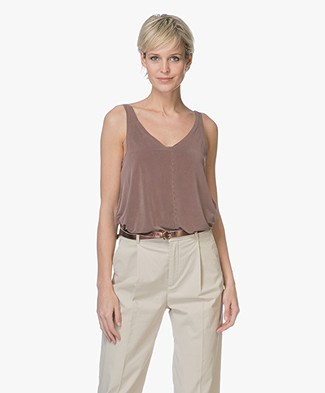 Friday's Project Cupro V-neck Top - Wine