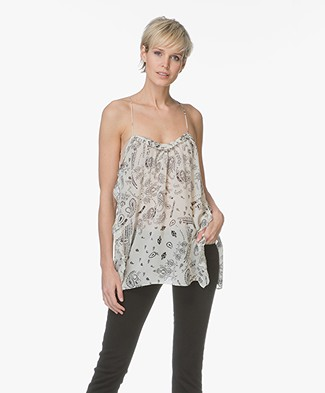 IRO Bamare Printed Top with Side Slits - White
