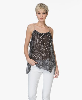 IRO Bamare Printed Top with Side Slits - Black