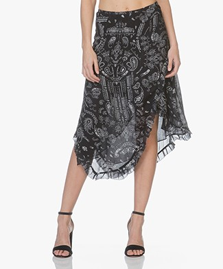 IRO Banem Asymmetric Skirt with Print - Black