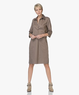 LaSalle Cotton Shirt Dress - Khaki Green