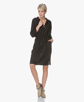 LaSalle Linnen Dress with Drawstring - Black