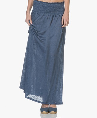 Majestic Linen Jersey Maxi Skirt / Strapless Dress - Blue Jean