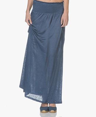 Majestic Filatures Linnen Jersey Maxi Rok / Strapless Jurk - Blue Jean