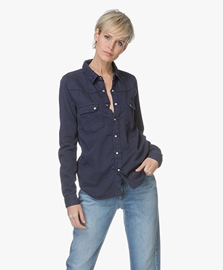 ba&sh Bridget Denim-look Blouse - Marine