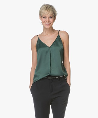 By Malene Birger Carollo Satin V-neck Top - Pine Grove