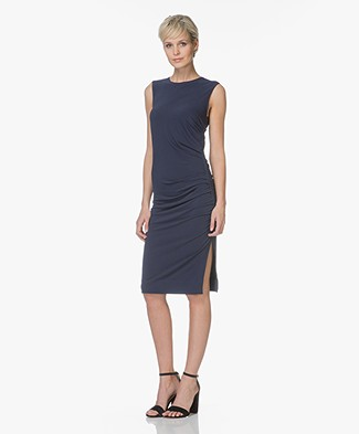 By Malene Birger Manian Pleated Crepe Jersey Dress - Navy