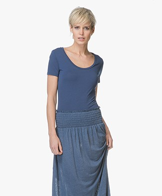 Drykorn Natina Scoopneck T-shirt - Donkerblauw
