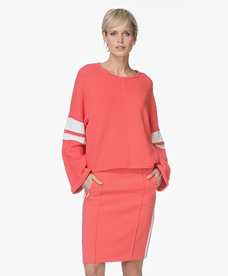Drykorn Nonie Boxy Sweater with Stripe Details - Coral Red
