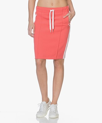 Drykorn Trix Side Stripe Skirt - Coral Red