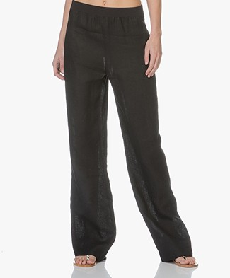 PB X LaSalle Linen Wide Leg Pants - Black