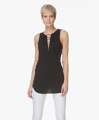 Majestic Long Tank Top with Lacing - Black