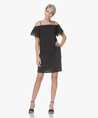 no man's land Jersey Off-shoulder Mini Dress - Core Black