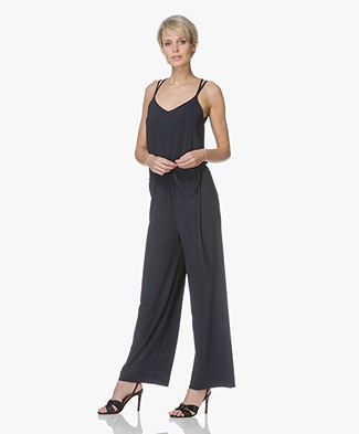no man's land Crepe Jersey Wide Leg Jumpsuit - Dark Saphire