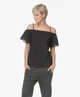 no man's land Travel Jersey Off-shoulder Blousetop - Zwart