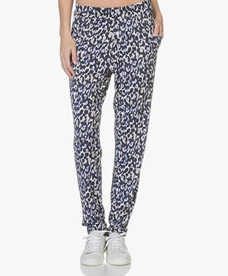 no man's land Jersey Leopard Printed Pants - Lavender
