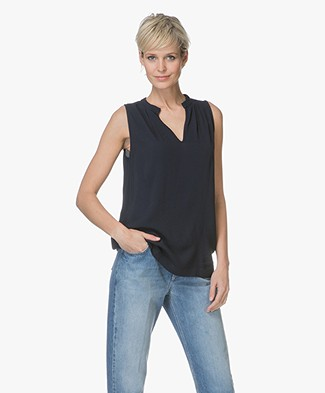 no man's land Viscose Crepe Sleeveless Blouse - Dark Saphire