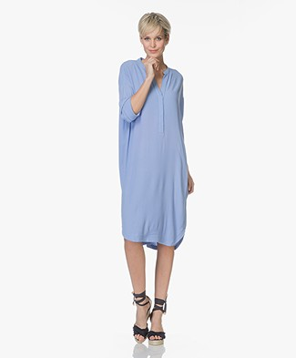 no man's land Viscose Crepe Shirt Dress - Lavender
