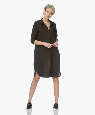 LaSalle Pure Linen Shirt Dress - Black