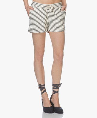 BY-BAR Peppe Stripe Sweat Shorts - Cream/Off Black