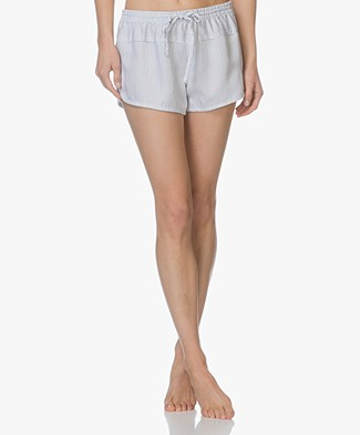 Calvin Klein Striped Sleep Short in Tencel - White/Dark Blue