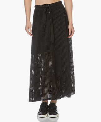 LEÏ 1984 Marinette Embroidered A-line Midi Skirt - Black